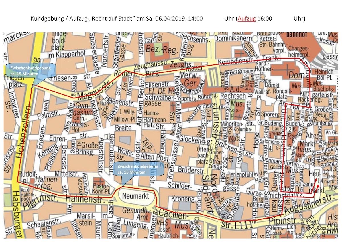 Karte mit dem Weg der Demonstration durch die Kölner Innenstadt.